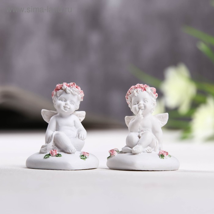 "Сувенир ""Ангелок в венке из роз сидит на сердце"", МИКС"