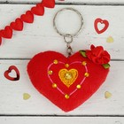 """Мягкая игрушка-брелок """"Сердце в стразах"""" с розочкой, цвет красный"""