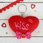 """Мягкая игрушка-брелок """"Сердце с бантиком"""" Kiss, цвет красный"""