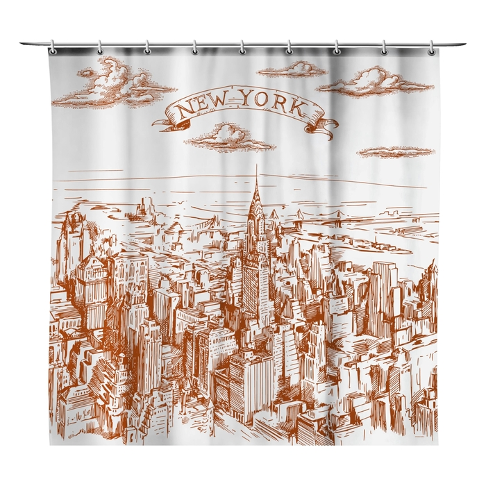 "Шторка в ванную ""Нью-Йорк"", 170 х 175 см"