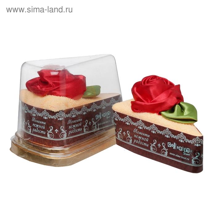 "Полотенце сувенирное торт ""Collorista"" Красная роза в ваниле 20 х 20 см, микрофибра"