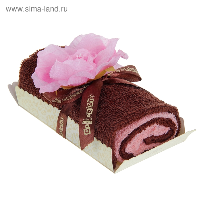 """Полотенце сувенирное рулет """"Collorista"""" Розовый пион в шоколаде 30 х 30 см - 2 шт, хлопок"""