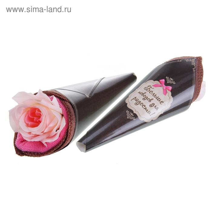 """Полотенце сувенирное рожок """"Collorista"""" Роза 25 х 25 см - 2 шт, микрофибра"""