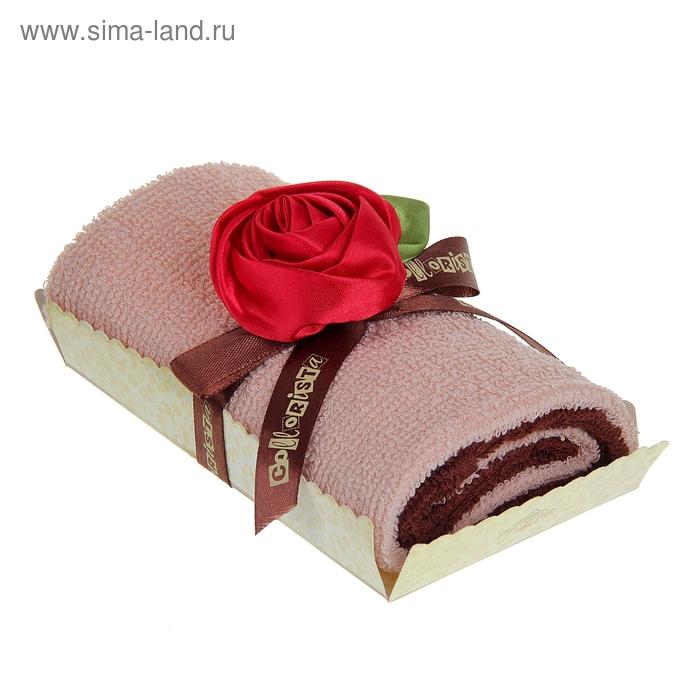 """Полотенце сувенирное рулет """"Collorista"""" Красная роза в карамели 30 х 30 см - 2 шт, хлопок"""