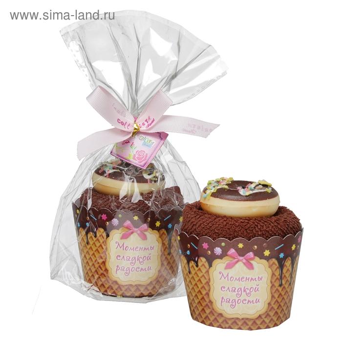 "Полотенце сувенирное пироженка ""Collorista"" Шоколадное блаженство 30х30см, хлопок"
