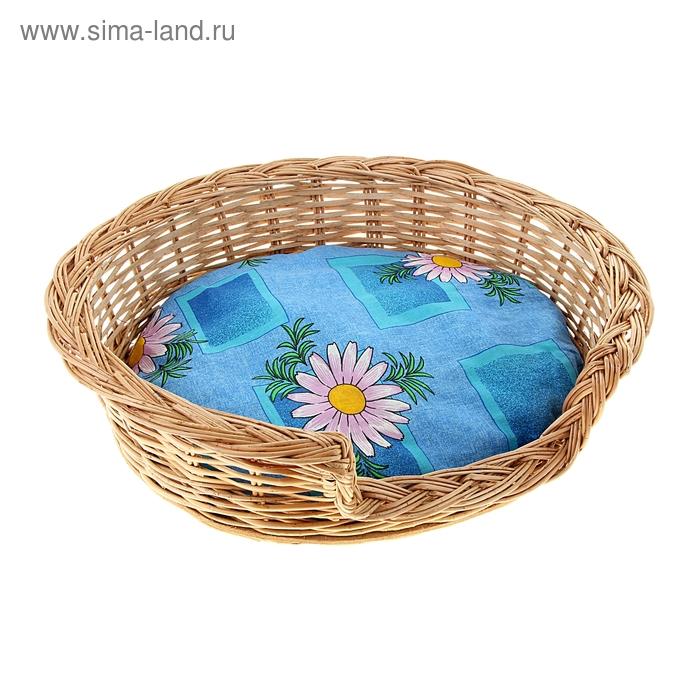 """Лежанка из лозы """"С порогом"""", 42 х 34 х 14 см, подушка микс цветов"""