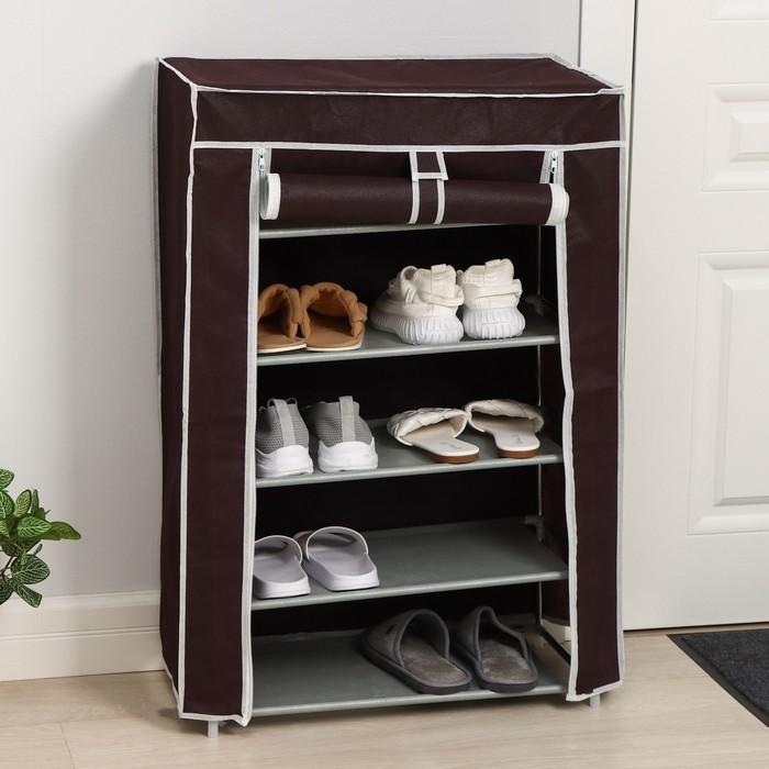Полка для обуви, 5 яруса, 60×28×90 см, цвет кофейный - фото 4642858