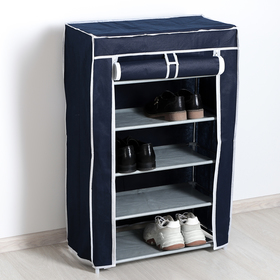 Полка для обуви, 5 ярусов, 60×28×90 см, цвет синий - фото 4642926