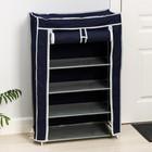 Полка для обуви, 5 ярусов, 60×28×90 см, цвет синий - фото 4642927