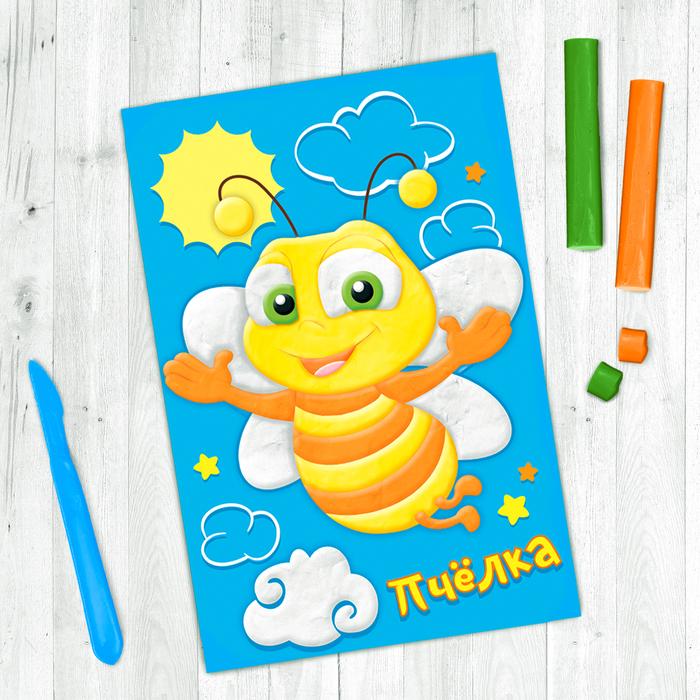 """Аппликация пластилином """"Пчелка"""", 6 цветов пластилина по 7 гр"""