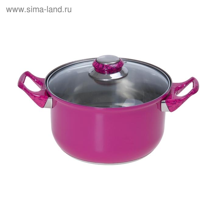 """Кастрюля 1,5 л с крышкой """"Элит"""", цвет розовый"""