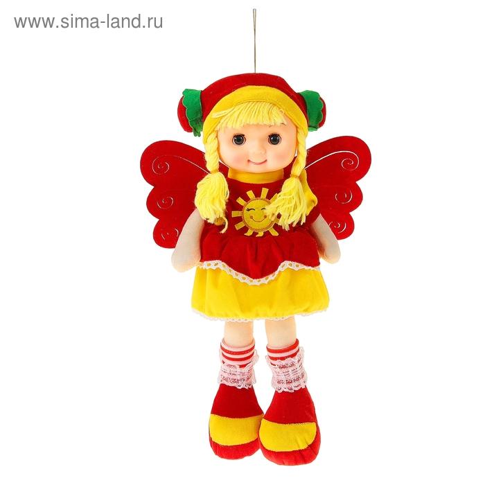 Мягкая игрушка кукла с крыльями шляпка платье красное