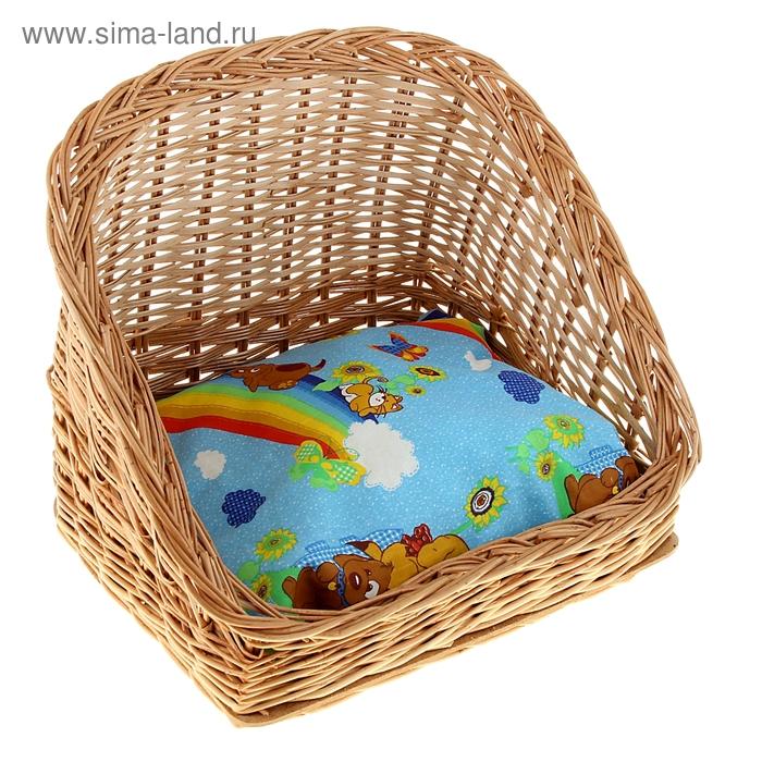 """Лежанка из лозы """"Ракушка"""", 34 х 30 х 32 см, подушка микс цветов"""