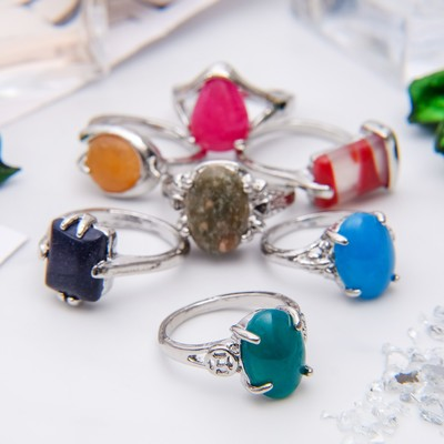 """Ring """"mixed stones"""" oval, size MIX, form MIX"""