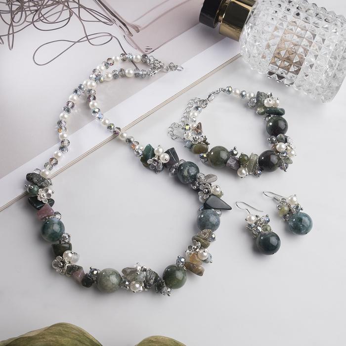 """Набор 3 предмета: серьги, бусы, браслет, каменная долина """"Яшма зеленая"""""""