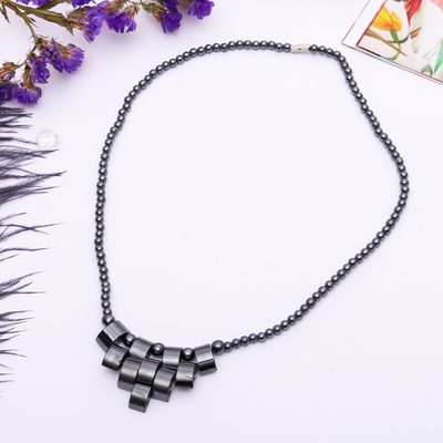 "Necklace ""Hematite"", chess, 45 cm"