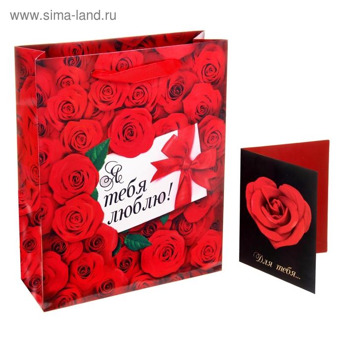 """Пакет подарочный с открыткой """"Я тебя люблю"""""""