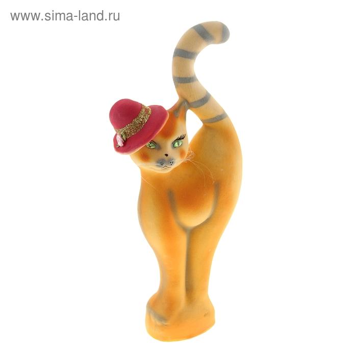 """Копилка """"Кошка в шляпе"""" флок, оранжевая"""