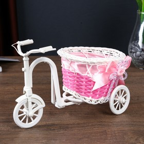 """Basket decorative """"Bicycle with planter - pink ribbon"""""""