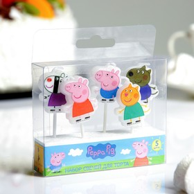 """Набор свечей """"Peppa Pig"""" с держателем, 5 штук"""