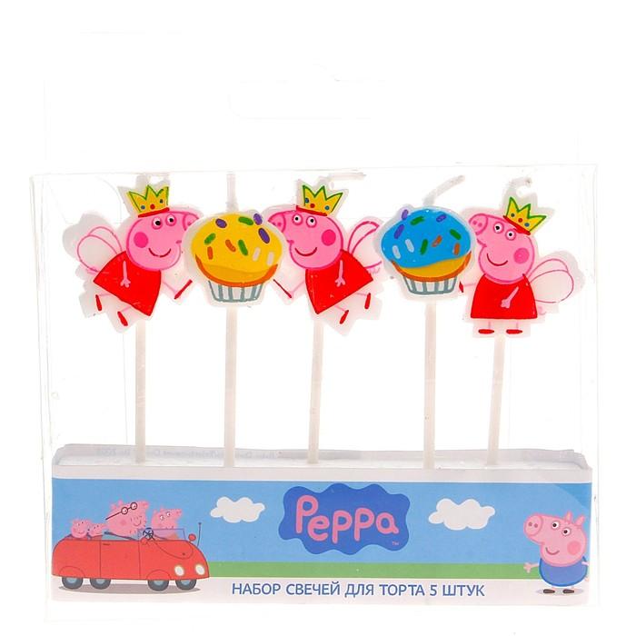 """Набор свечей """"Peppa Pig"""" с держателем, 5 штук - фото 35609064"""