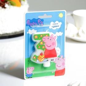 Свеча для торта цифра 'Peppa Pig' зелёная '3' Ош