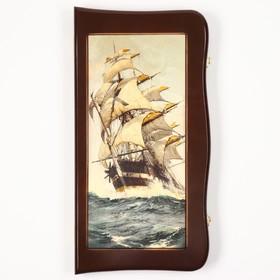 """Нарды резные """"Морские"""", деревянная доска 55х55 см, с полем для игры в шашки"""
