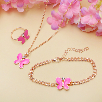 """Набор детский """"Выбражулька"""" 3 предмета: кулон, браслет, кольцо, бабочка, цвет розовый в золоте"""