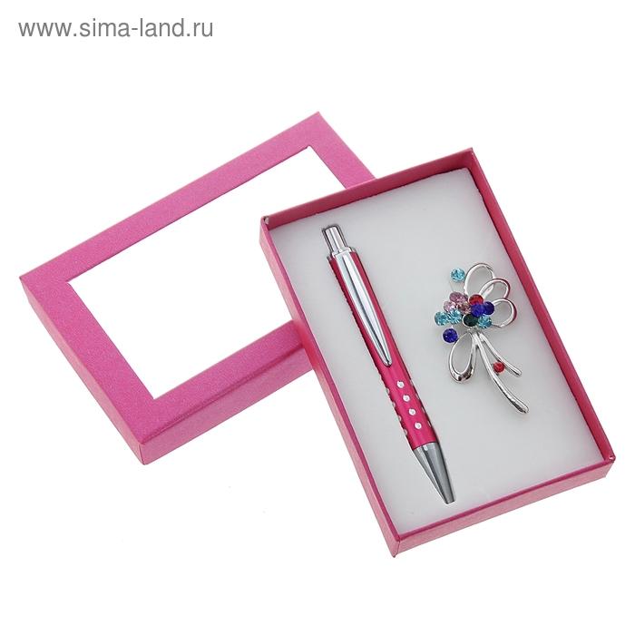 Набор подарочный 2в1 в карт.коробке (ручка+ брошь разноцветная) розовый 8*12см