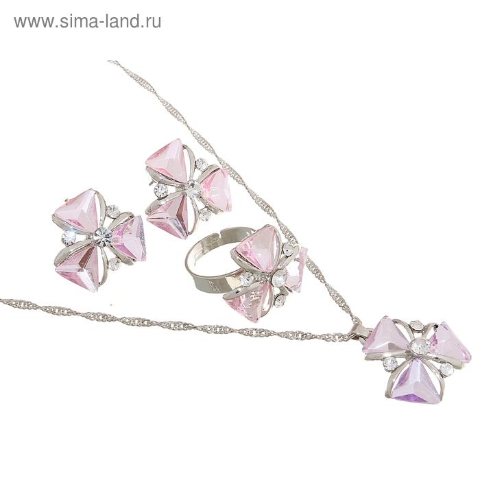 """Гарнитур 3 предмета: серьги, кулон, кольцо безразмерное """"Цветок"""" клевер, цвет розовый в золоте, 45см"""