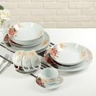 """Набор столовый """"Красный цветок"""", 20 предметов: 4 тарелки 20 см, 4 тарелки 20 см, 4 тарелки 26 см, 4 чашки 180 мл, 4 блюдца"""
