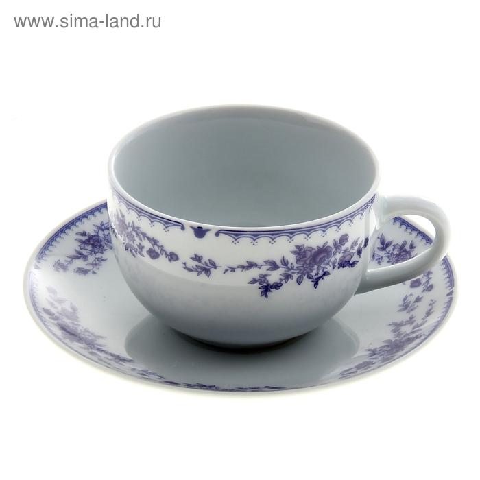 """Набор чайный """"Гжель"""", 2 предмета: чашка 180 мл, блюдце"""