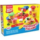 Пластилин на растительной основе набор 6 цветов Ristorante Italiano, 2 по 100г, 4 по 35г + форма-трафарет для лепки, 2 формочки, скалка, стек, вилка, тарелка, шприц, 2 декоративные линейки