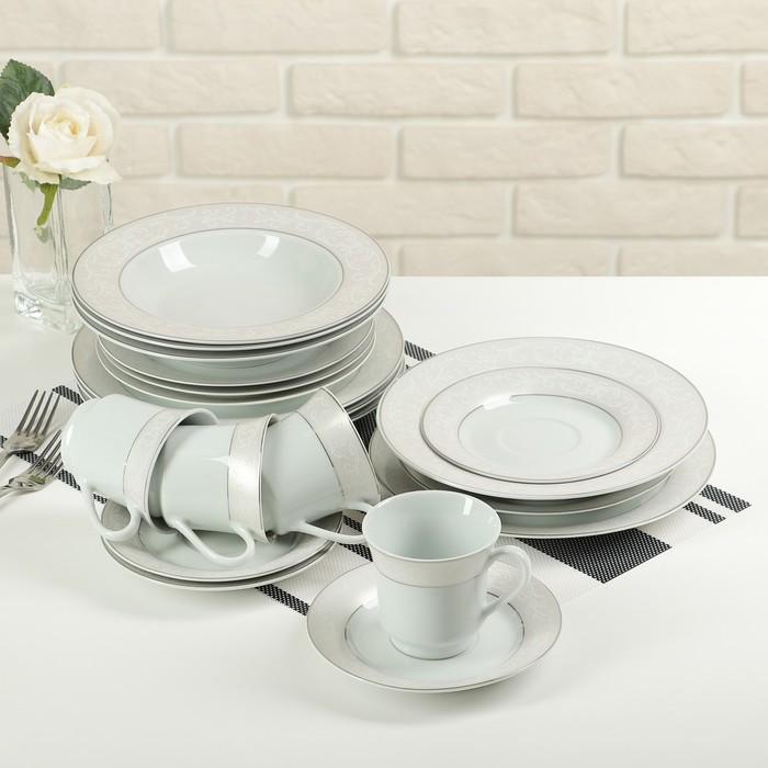 """Набор столовый """"Миледи"""", 20 предметов: 4 тарелки 19 см, 4 тарелки 21 см, 4 тарелки 23 см, 4 чашки 180 мл, 4 блюдца"""