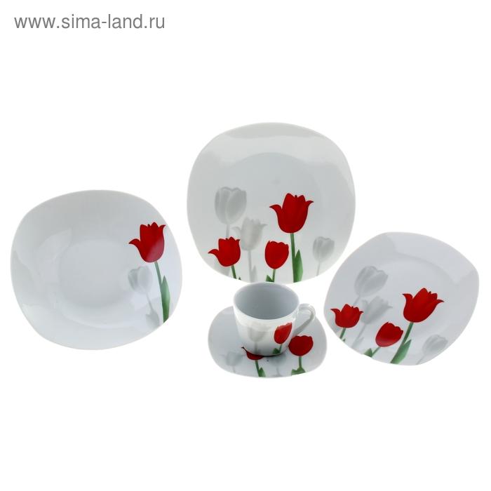 """Набор столовый """"Тюльпаны"""", 20 предметов: 4 тарелки 200 мм, 4 тарелки 230 мм, 4 тарелки 240 мм, 4 чашки 180 мл, 4 блюдца"""