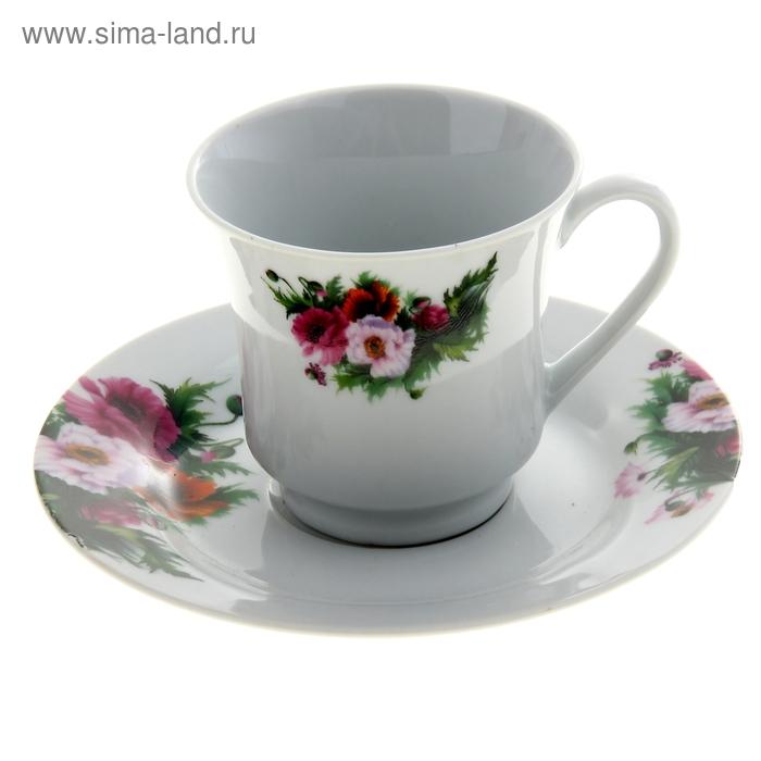 """Набор чайный """"Маки"""", 2 предмета: чашка 180 мл, блюдце"""