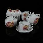 """Сервиз чайный """"Розовые герберы"""", 14 предметов: 6 чашек, 6 блюдец, чайник, сахарница"""