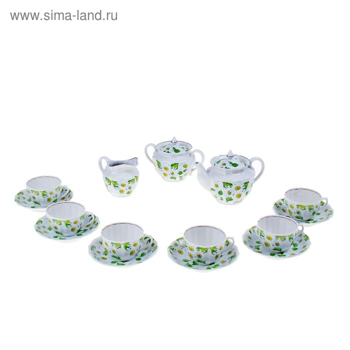 """Сервиз чайный """"Любит не любит"""", 15 предметов: 6 чашек, 6 блюдец, чайник, сахарница, молочник"""