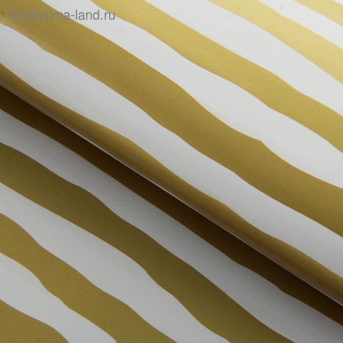 """Бумага упаковочная """"Золотые полосы"""", цвет белый"""