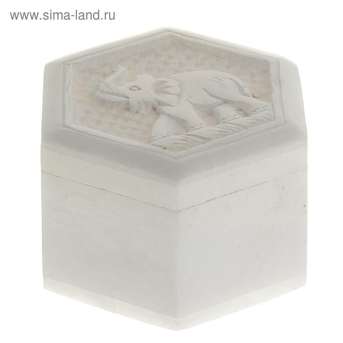 "Шкатулка резная ""Слон"" под белый мрамор"