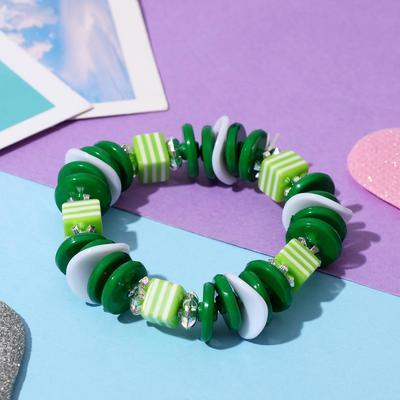 "Bracelet ""Vibracula"" striped cube, color green"