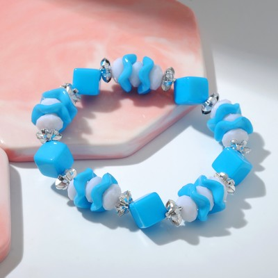 """Bracelet """"Vibracula"""" wave and cube, color blue"""