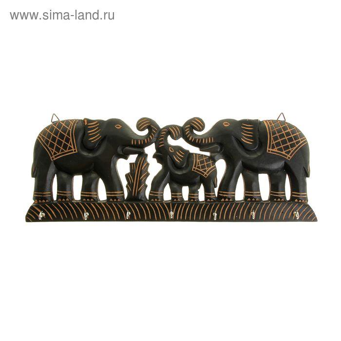 """Крючки интерьерные деревянные """"Семья слонов"""""""
