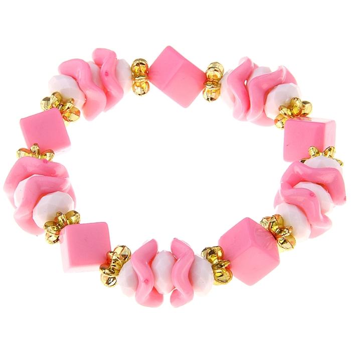 """Браслет детский """"Выбражулька"""" волна и кубик, цвет розовый"""