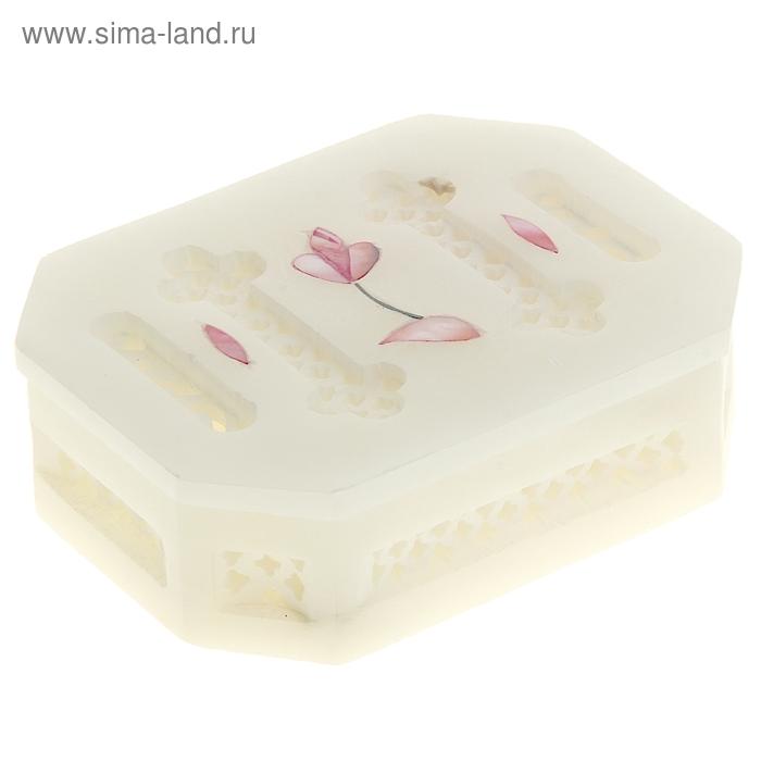 """Шкатулка из камня резная шестиугольная """"Нарцисс"""""""