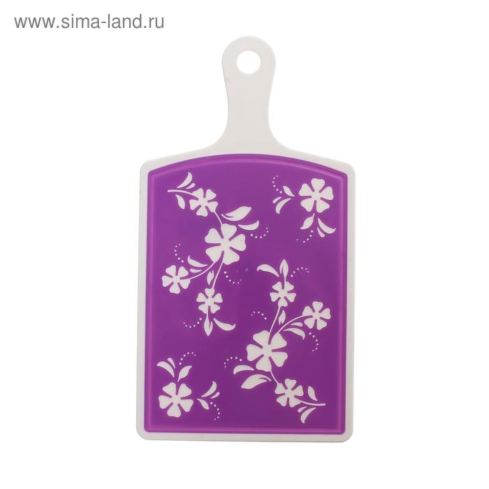 "Доска разделочная 34х18 см ""Камелия"", цвет фиолетовый"