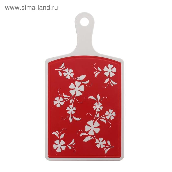 """Доска разделочная 34х18 см """"Камелия"""", цвет красный"""