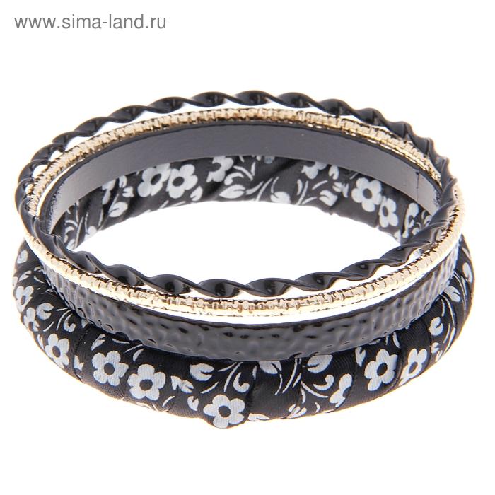"Браслет-кольца 4 кольца ""Цветочная палитра"", цвет чёрно-белый"