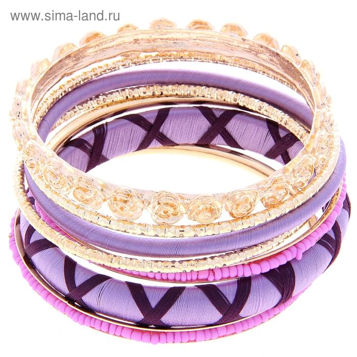 """Браслет-кольца 7 колец """"Цветы"""" розы, цвет сиреневый в золоте"""