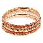 """Браслет-кольца 6 колец """"Невесомость"""", цвет персиковый в тёмном золоте"""